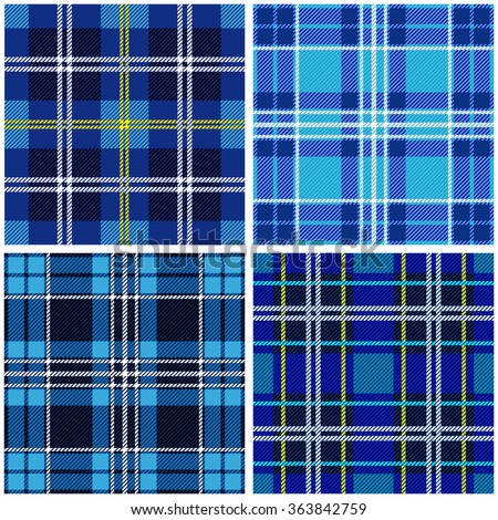 Set of 4 seamless checkered vector patterns. Blue and black tartans with white and yellow stripes. Retro textile collection. Backgrounds & textures shop.  - stock vector