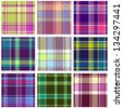 Set of Seamless Checkered Vector Plaid Pattern - stock photo