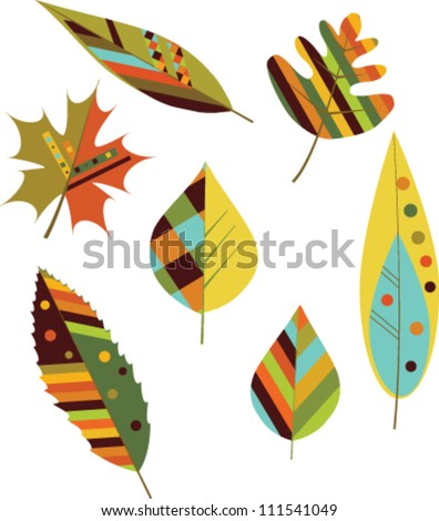 Set of seamless colorful autumn leaves. Vector - stock vector