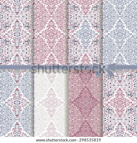 Set of 8 seamless colorful damask patterns - stock vector