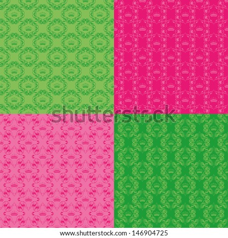 Set of 4 seamless damask pattern. Each seamless pattern is grouped on a separate layer.
