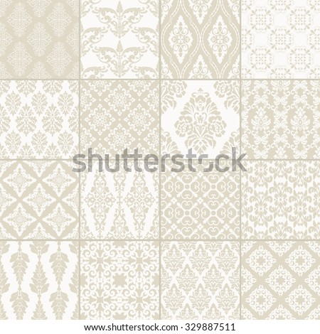 Set of 16 seamless damask patterns. Classic beige wallpapers. Vintage vector backgrounds. - stock vector