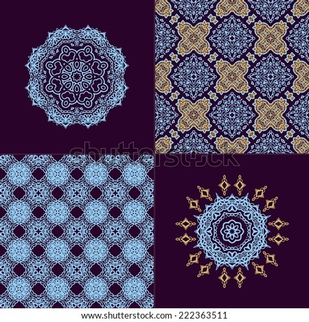 Set of seamless decorative patterns - stock vector