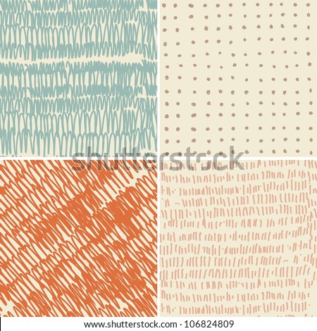 set of 4 seamless doodle patterns - stock vector