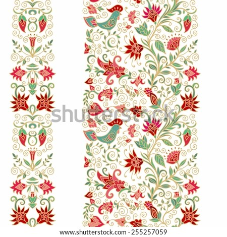 Set of seamless floral laced ribbons - stock vector