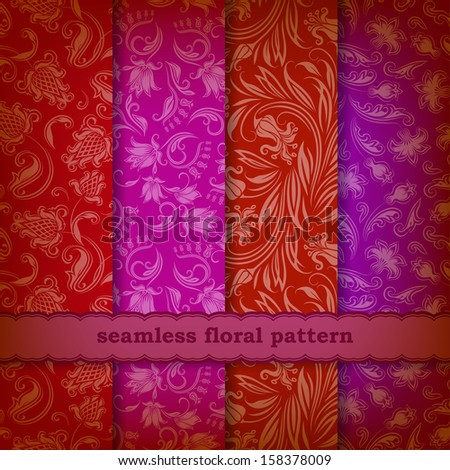 Set of 4 seamless floral pattern. Decorative flowers on a background. In vintage style. EPS10.