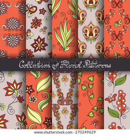 Set of 10 Seamless Floral Patterns (Vector). Hand Drawn Floral Textures, Decorative Flowers with Butterflies and Other Insects - stock vector