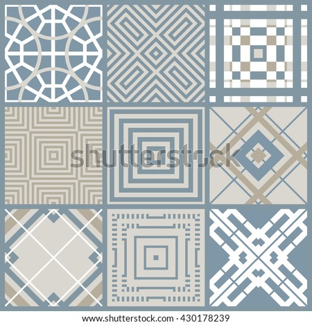 Set of 9 seamless geometric pattern in blue, brown and white. Can be used for ceramic tile, wallpaper, linoleum, surface textures, web page background. - stock vector