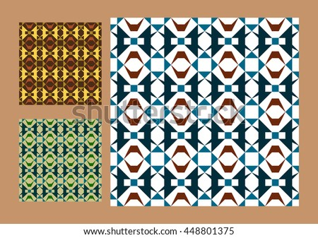 Set of seamless, geometric patterns. The template, texture, background. Three color options - stock vector