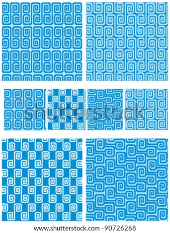 Set of seamless greek ornaments. Meander and wave in blue. - stock vector