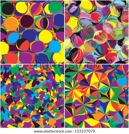 Set of seamless grunge circled,stained and striped rainbow patterns