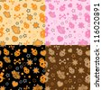set of seamless halloween backgrounds - stock vector