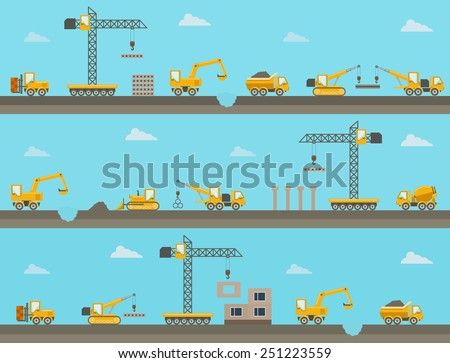 Set of seamless horizontal construction background with construction equipment icons. Vector illustration - stock vector