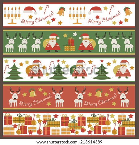 Set of seamless horizontal pattern. Ribbon with Christmas symbols. - stock vector
