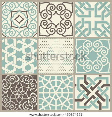 set of 9 seamless Islamic pattern in turquoise, brown and beige. Ethnic pattern. Can be used for ceramic tile, wallpaper, linoleum, surface textures, web page background - stock vector
