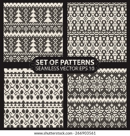 set of seamless knitted patterns graphics. 10 eps - stock vector