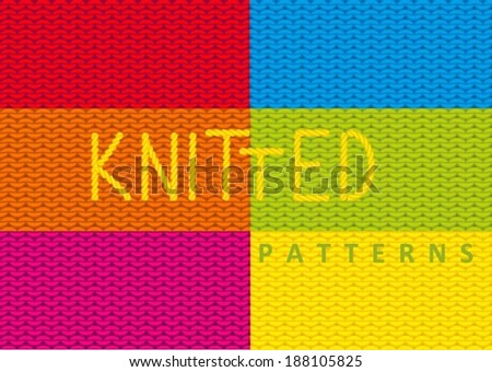 Set of seamless knitted vector patterns. - stock vector