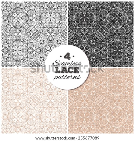 Set of seamless lace backgrounds, delicate vintage patterns. Black and beige ones have transparent backgrounds, so they can be placed on any background you like. Eps10 vector illustrations. - stock vector