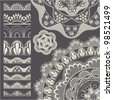 Set of seamless lace borders. Vector brush - stock photo
