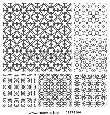 Set of 6 Seamless line patterns. Stylish graphic monochrome geometric backgrounds collection,. Tribal ethnic arabic, indian ornament, isolated black on white background