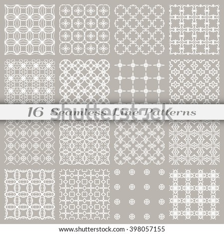 Set of 16 Seamless linear patterns with thin lines. Stylish monochrome geometric backgrounds collection, line art. Tribal ethnic ornament in arabic style. Contemporary graphic design.