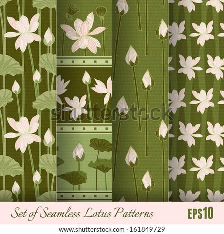 Set of Seamless Lotus Patterns. Vector illustration, eps10. - stock vector