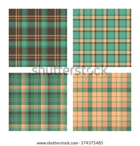 Set of seamless lumberjack plaid patterns, tartan vector patterned texture. For design, background, backdrop, textile, card, fabric, cloth,  decoration, wrapping paper. Red, yellow and green. - stock vector