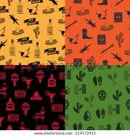 set of seamless mexican themed pattern backgrounds, 4 variations with clipping paths - stock vector