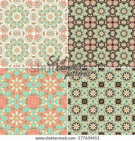 Set of seamless oriental patterns - stock vector
