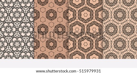 set of seamless pattern. floral geometric lace texture Decorative background, tribal ethnic ornament. brown color
