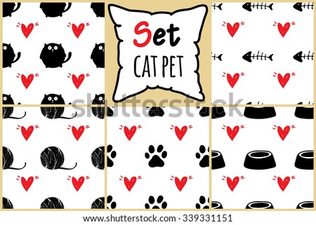 Set of seamless pattern for card, paper, scrapbook, wrapping, backdrop,texture, wallpaper, cover. Black and white Pet backgrounds with red hears Vector illustration eps 10 - stock vector
