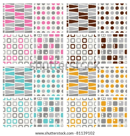 set of seamless pattern - grey with pink, brown, blue and orange - stock vector