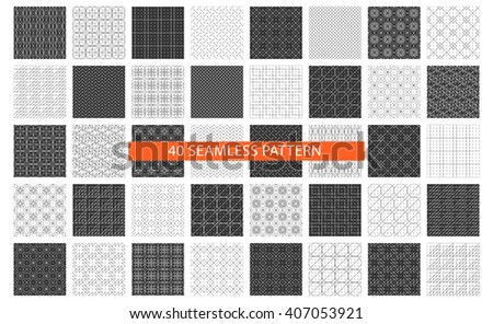 Set of 40 seamless pattern.Linear pattern,square pattern,floral pattern,geometric pattern,monochrome pattern.Black,white textile print,texture,fabric,tile,background,web,cosmetics.Vector illustration - stock vector
