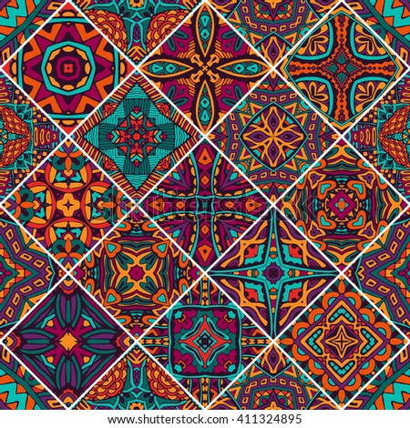 set of seamless pattern. Vintage decorative elements. Oriental pattern, vector illustration. African, Aztec, Mayan, Indian, Turkish, Pakistan, Chinese, Moroccan, Ottoman motifs - stock vector