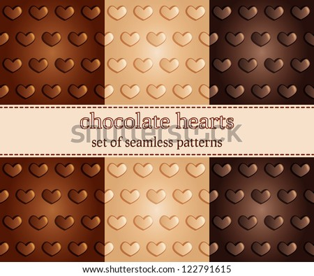 set of seamless pattern with chocolate hearts - vector illustration - stock vector