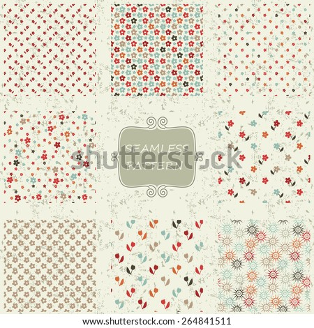 set of 8  seamless pattern with colorful flowers on shabby background - stock vector