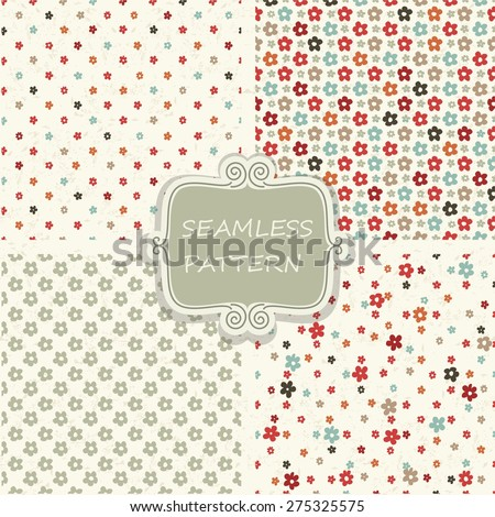 set of 4 seamless pattern with colorful flowers on shabby background