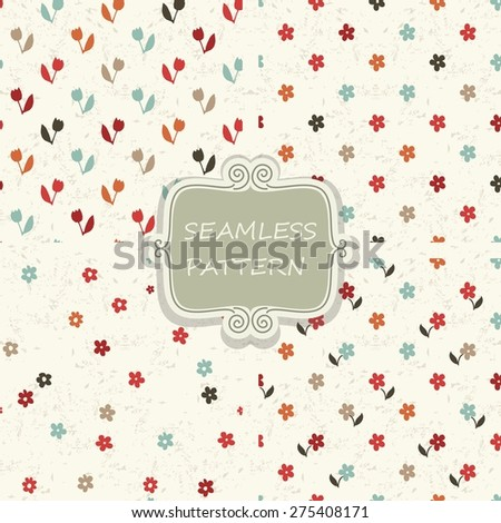 set of 4 seamless pattern with colorful flowers on shabby background - stock vector
