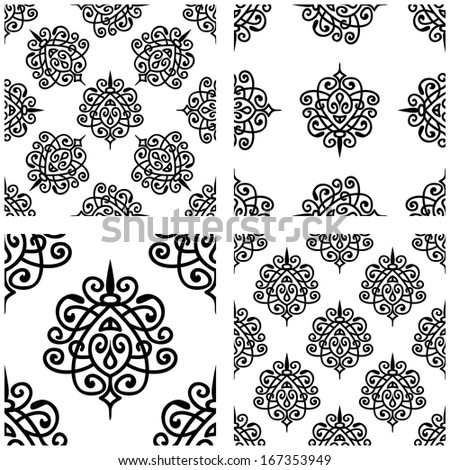 Set Of Seamless Pattern With Damask Ornament - stock vector