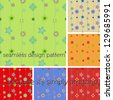 Set of seamless pattern with different colors. More than 5 diverse tones, to play with. Six canvas of EPS VECTOR. Editable, Changeable. Illustration, s - stock photo