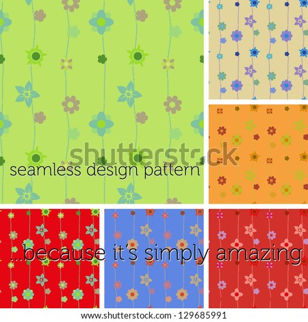 Set of seamless pattern with different colors. More than 5 diverse tones, to play with. Six canvas of EPS VECTOR. Editable, Changeable. Illustration, s - stock vector