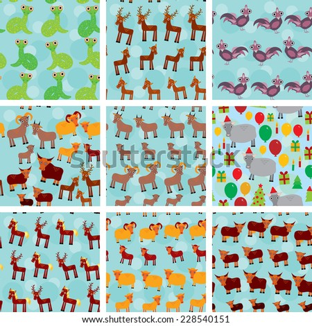 Set of 9 seamless pattern with funny farm animals on  blue background. vector - stock vector