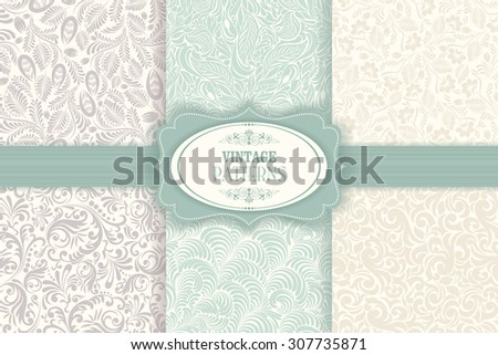 Set of seamless patterns baroque  - stock vector