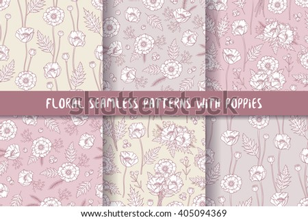 Set of seamless patterns in boho style with poppies. Hand drawn elements. Summer time. Floral patterns for textile, packaging, greeting cards, invitations, wedding decoration. Bohemian collection. - stock vector