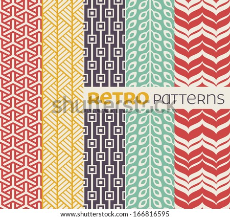 Set of seamless patterns in retro style. EPS 8 vector illustration. - stock vector