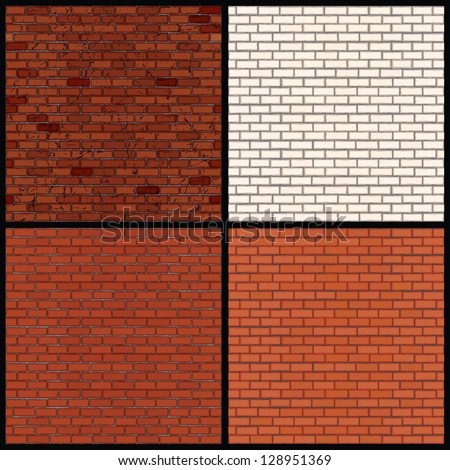 Set of Seamless Patterns of Brick Walls. Old Grunge Wall, White Brick Wall and Classic Orange Brick Wall. Vector Clip Art - stock vector