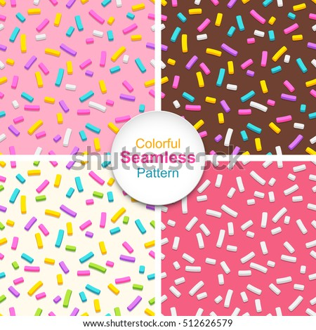 Set of seamless patterns of donut glaze with many decorative sprinkles. Easy to change colors. Background design for banner, poster, flyer, card, postcard, cover, brochure.