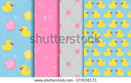 Set of seamless patterns on the subject of bathing , shower , bathtub. Yellow Duckling, lather, bubbles, sponge - stock vector