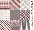 Set of seamless patterns. Polka dots, stripes, zigzag, cells and checkered. Vector repeating texture, Collection of geometric background - stock photo