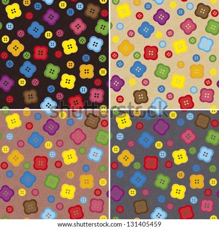 Set of seamless patterns with buttons
